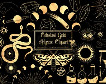 Celestial Gold Mystic Clip Art - digital occult and Wicca clipart graphics in png format for commercial use