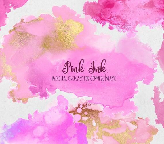 pink ink graphic elements ink overlays paint splatter etsy