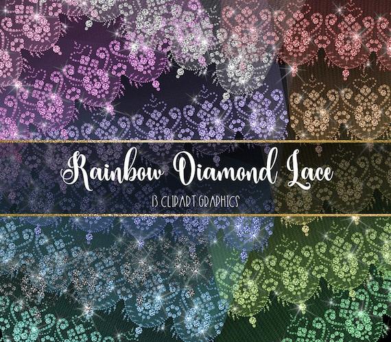 Arc En Ciel Diamant Dentelle Clipart Diamant Blanc Mariage Dentelle Clip Art Rose Bling éclat Glam Strass Dentelle Bordures Superpositions Png