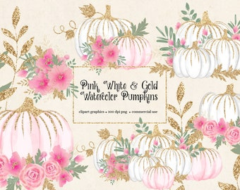 Pink White and Gold Watercolor Pumpkins Clip Art - sparkling gold pumpkins in PNG format instant download for commercial use