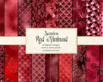 Red Mermaid Digital Paper, seamless mermaid scales, red mermaid backgrounds, seamless mermaid patterns, burgundy fish scales backgrounds