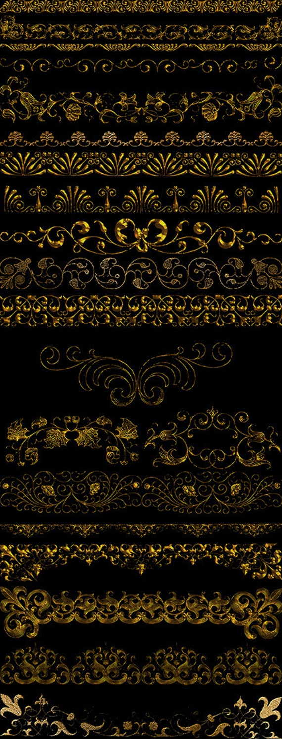 Old Gold Borders Clipart Vintage Baroque Ornamental border | Etsy
