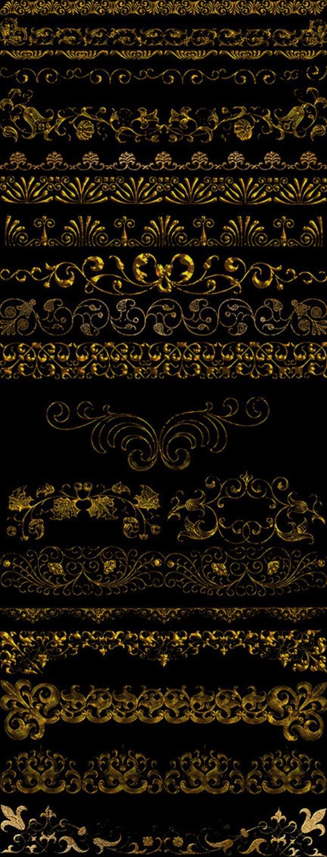 Altgold Grenzen Clipart Vintage Barock ornamentalen Rahmen | Etsy