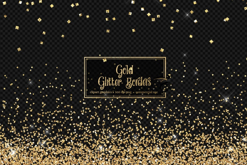 Gold Glitter Borders Clipart, silver and gold glitter png overlays, clip art gold glitter confetti high resolution instant download photo