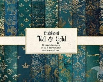 Teal and Gold digital paper, gold foil patterns, vintage damask distressed textures, printable scrapbook paper, aqua turquoise download