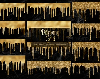 Dripping Gold Clipart - gold glitter drips like frosting with gold foil and sparkles in PNG format instant download for commercial use