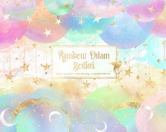 Rainbow Dream Borders - digital instant download watercolor and gold foil clip art graphics for commercial use