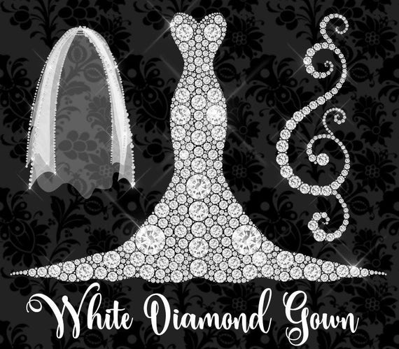 White Diamond Gown And Veil Clipart Diamond Wedding Dress Etsy