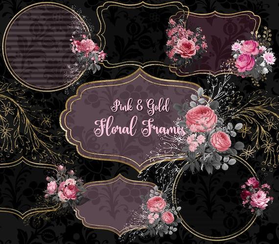 Pink And Gold Floral Frames Clip Art Digital Instant Download Etsy