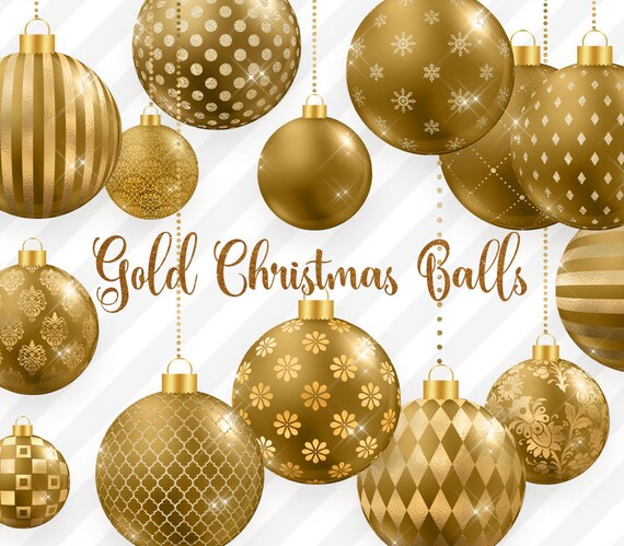 image 0 - Gold Christmas Ornaments
