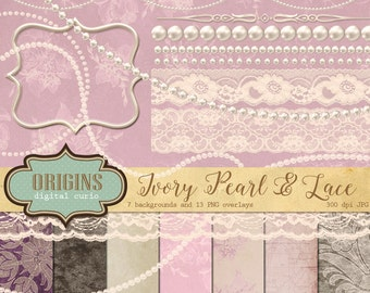 Pearls and Lace Clipart, Digital Scrapbooking kit, Ivory lace white pearl clip art digital jewel shabby chic instant download commercial use