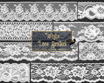 White Lace Clipart, Vintage Lace borders clip art scrapbook embellishments, png lace png clipart digital instant download commercial use