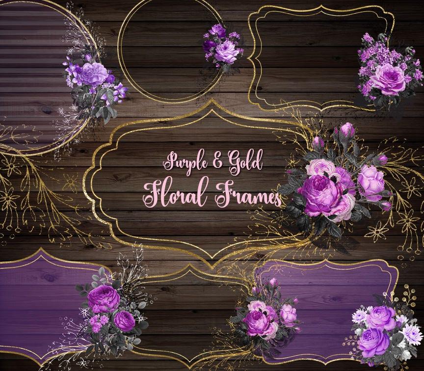 Purple And Gold Floral Frames Clip Art Digital Instant Etsy