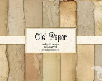 Old Paper Textures, vintage antique distressed aged paper backgrounds grunge ripped edges digital printable scrapbook paper