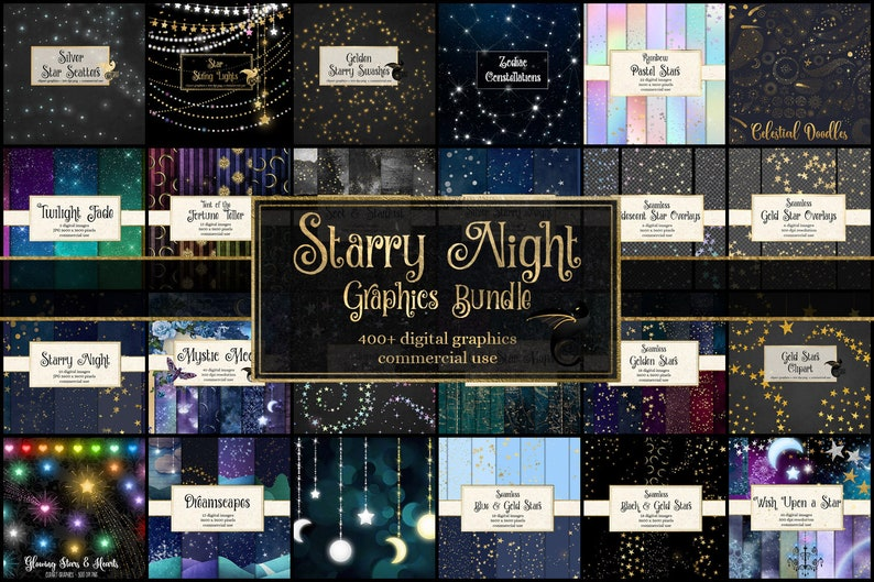 85% OFF Starry Night Graphics Bundle, discount digital paper and clipart, backgrounds, scrapbook paper sale, gold stars instant download photo