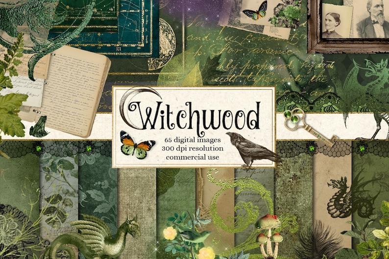 Witchwood Digital Scrapbooking Kit, clipart, digital paper ephemera, frames, florals, magic witch, dragon, fantasy digital overlays photo