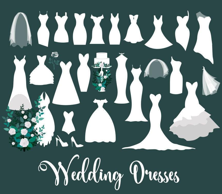 Wedding Dresses Clipart Wedding dress clip art vectors | Etsy (864 x 756 Pixel)