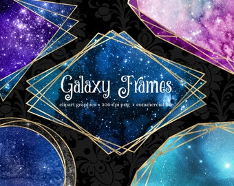 Galaxy Polygonal Frames Clipart, geometric gold frames with watercolor clip art graphics instant download commercial use