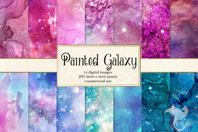 Painted Galaxy Digital Paper, watercolor starry night backgrounds, printable night sky nebula scrapbook paper, paint watercolour textures photo