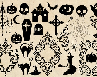 Halloween Clipart Silhouettes in PNG and vector format with Gothic skulls and frames instant download for commercial use