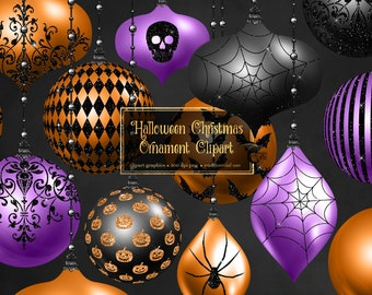 Halloween Christmas Ornaments Clipart, digital ornament clip art in png format for commercial use