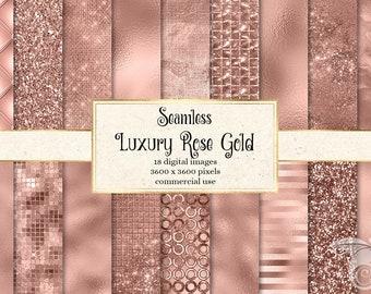 Luxury Rose gold digital paper, seamless rose gold scrapbook paper, blush pink, digital paper, foil, rose gold glitter, metal, metallic