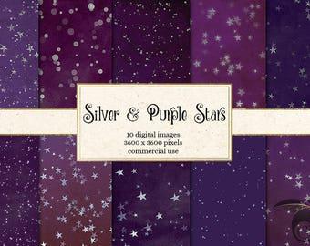 Silver and Purple Stars Digital Paper, starry night digital scrapbook paper, night sky backgrounds, starry night backdrops, purple stars