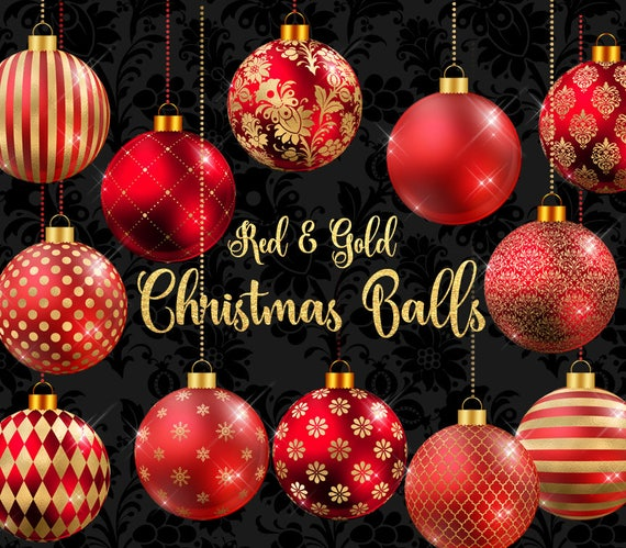 Red Christmas Ball Ornaments.Red And Gold Christmas Balls Clipart Christmas Baubles Christmas Ornaments Gold And Red Christmas Tree Decoration Graphics