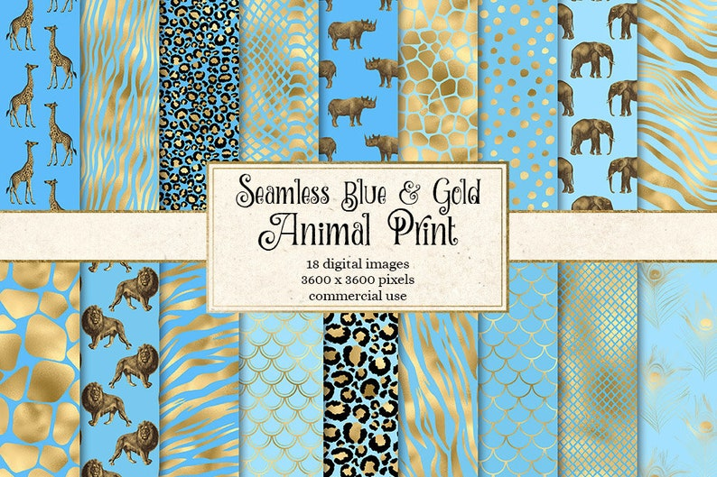 8fee9dfa7cab Blue and Gold Animal Skins digital paper seamless African