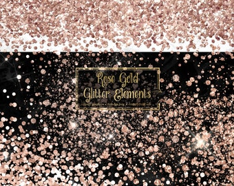 Rose Gold Glitter Elements - clipart graphics in PNG format with sparkles and glitter confetti instant download for commercial use