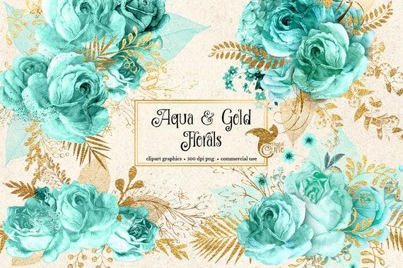 Aqua and Gold Floral Clip Art digital instant download | Etsy