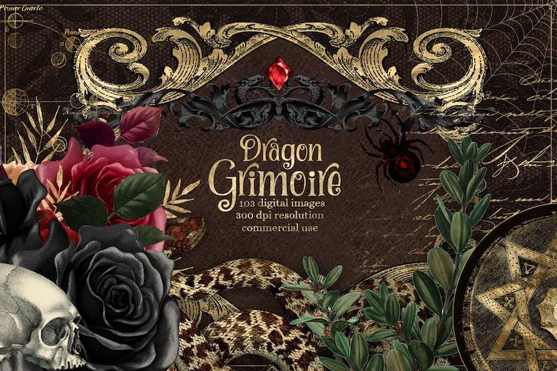 Dragon Grimoire Digital Scrapbook Kit, Book of Shadows printable clipart witch graphics illustrations digital paper backgrounds junk journal photo