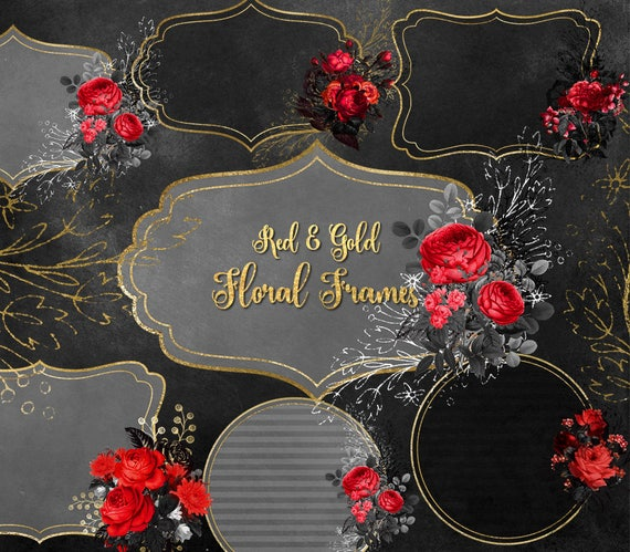 Red And Gold Floral Frames Clip Art Digital Instant Download Etsy