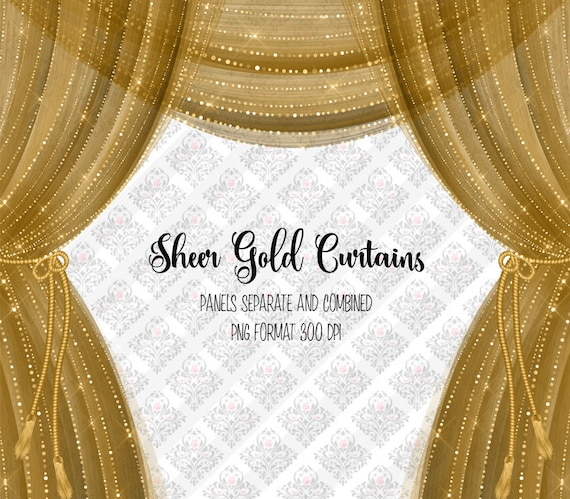 Sheer Gold Curtains Clipart Diamond Sparkle