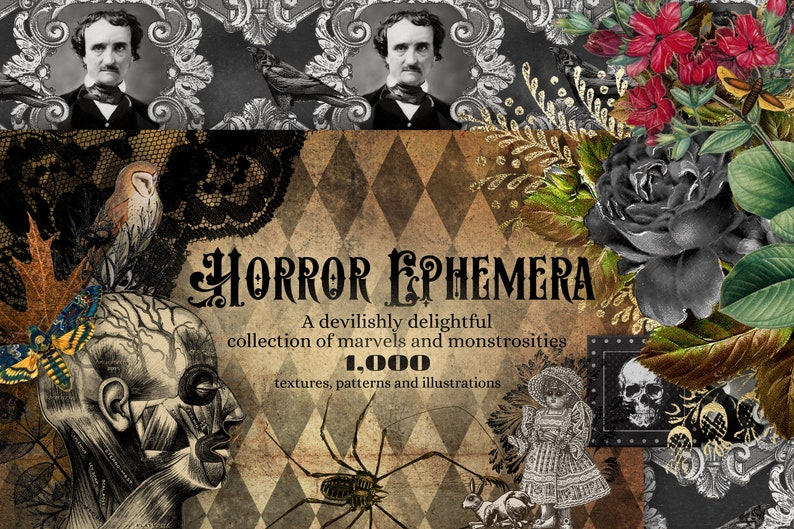 The Horror Ephemera Graphics Bundle, with over 1000 textures, clipart and patterns in high resolution Gothic digital paper and overlays photo