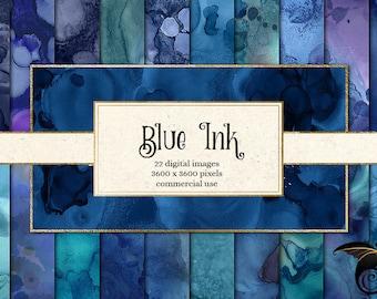 Blue Ink Textures, liquid paint textures, blue digital paper, watercolor sky and ocean backgrounds, alcohol ink splatters, painted skies
