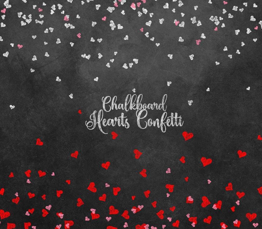 Chalkboard Hearts Confetti Clipart Chalkboard Valentine   Etsy