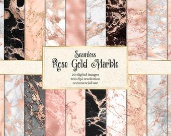 Rose Gold Marble Digital Paper, seamless marble textures in blush pink and white instant download for commercial use