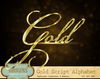 Gold Glitter Alphabet Clipart - Gold Letters Clip Art, Gold Glitter Letters, PNG Clipart Font digital instant download, commercial use