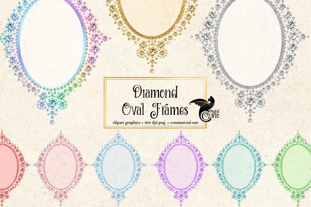 Diamond Oval Frames Clipart, princess vanity photo frame, glam ...