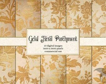 Gold Floral Parchment Digital Paper - gold flower scrapbook paper, backgrounds, vintage old paper pack champagne gold wedding digital paper