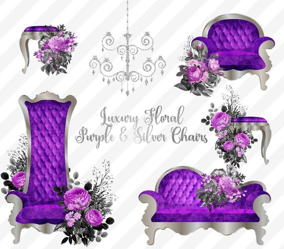Luxury Purple And Silver Chair Clipart Vintage Flower