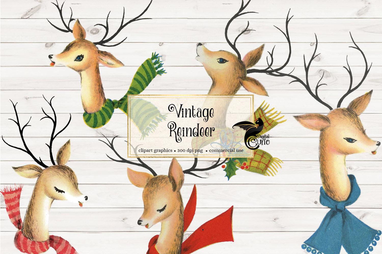Vintage Reindeer Clip Art retro Christmas digital instant ...