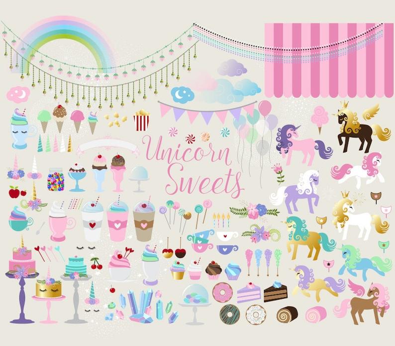 Unicorn Sweets Clipart PNG Vector Clip Art Graphics