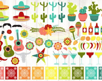 Cinco de Mayo Clipart, fiesta clipart, cinco de mayo and Mexican party clip art graphics, cactus, peppers, instant download commercial use