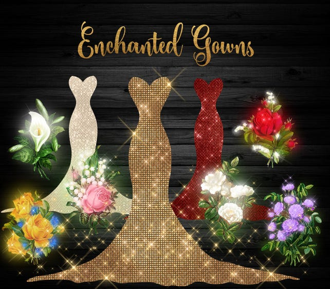 Enchanted Gowns Clipart glowing sparkle fantasy clip art   Etsy