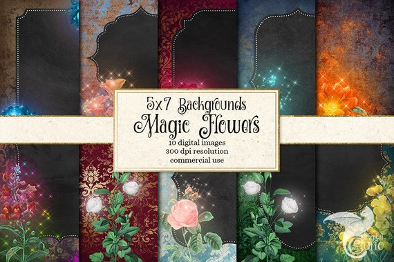 magic flower invitation backgrounds 5x7 flower digital paper etsy