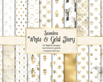 White and Gold Fairy Digital Paper, seamless textures with gold fairy patterns printable scrapbook paper for commercial use