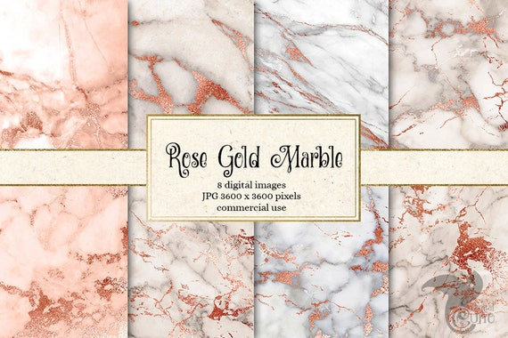 Rose Gold Marble Digital Paper Pink And Gold Marble Pink