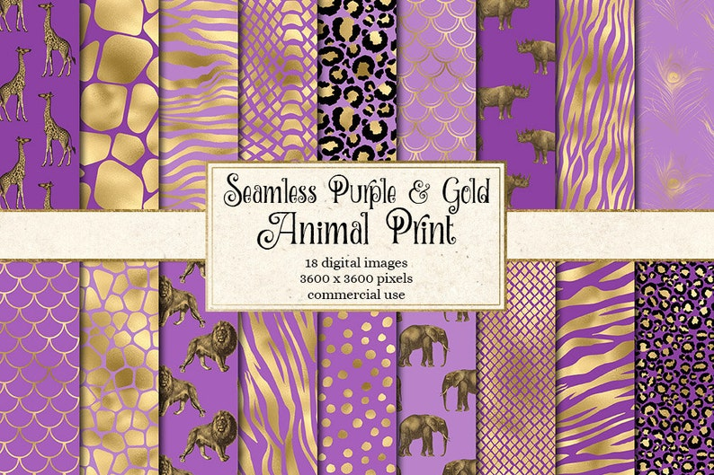 03f8bf156348 Purple and Gold Animal Skins digital paper seamless African